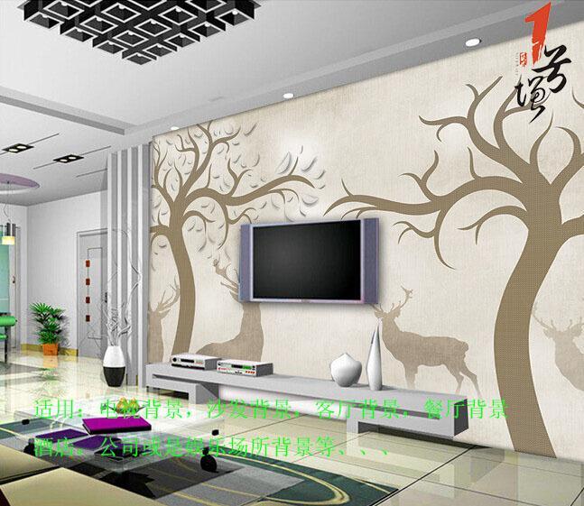 欧式怀旧抽象手绘大树驯鹿麋鹿电视背景墙