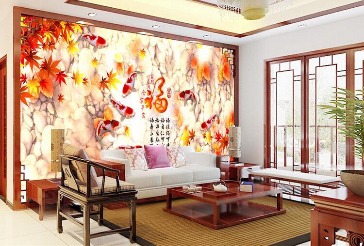九鱼图中式电视背景墙