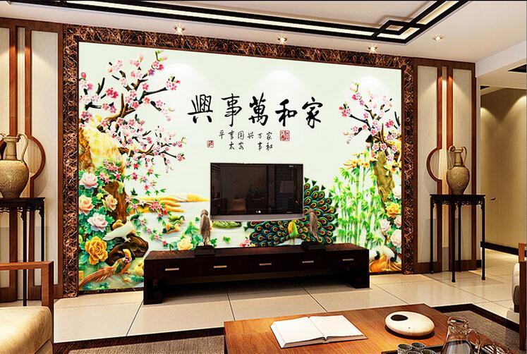 玉雕牡丹孔雀开屏家和万事兴电视背景墙
