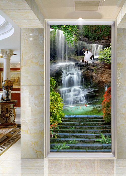 过道玄关背景墙、唯美瀑布仙鹤自然风景玄关背景墙