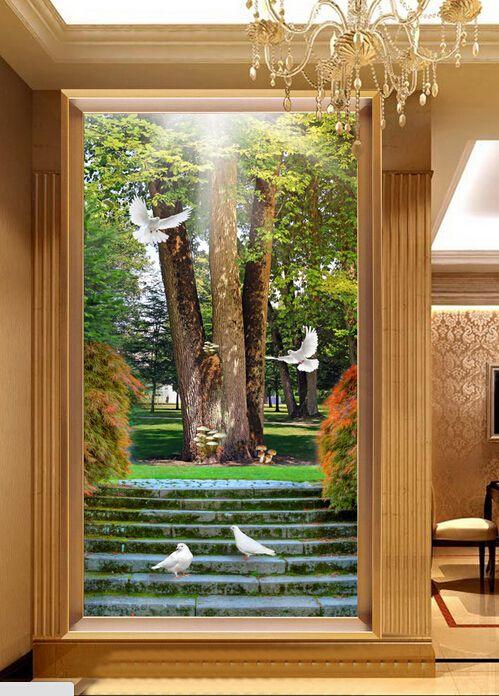 过道玄关背景墙、阳光下的唯美阶梯大树鸽子玄关背景墙