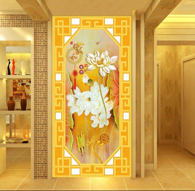 过道玄关背景墙、中式彩雕荷韵玄关过道背景墙